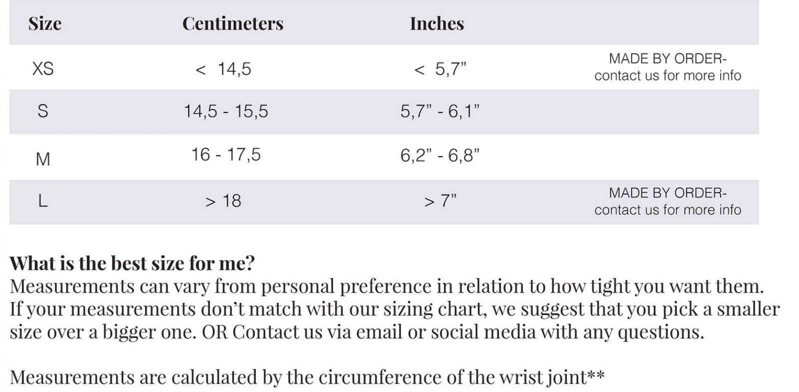 sneakydeez wrist size chart